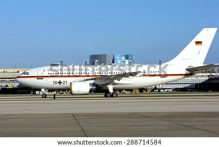 LISBON AIRPORT, PORTUGAL - DECEMBER 8, 2007: German presidential airplane parked in Lisbon airport, Portugal. - stock photo