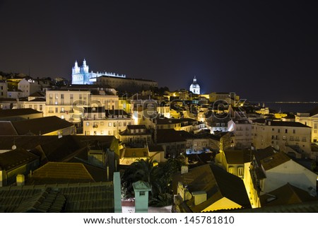 Lisbon at night - city view - stock photo