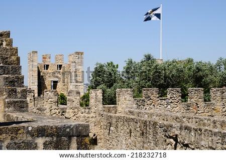 Lisbon castle in Portugal - stock photo