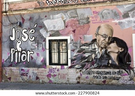 LISBON, Circa August 2014: A mural in remembrance of Jose Saramago, the Portuguese 1998 Nobel Prize in Literature. August 2014 in Lisbon, Portugal