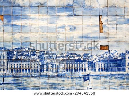 lisbon city portugal blue floral mosaic detail - stock photo