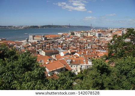 Lisbon city, seen from the old castle