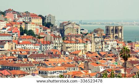 Lisbon cityscape of the Alfama district, Portugal - stock photo