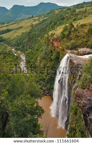 Lisbon Falls in Mpumalanga, South Africa, in portrait showing gorge and mountains - stock photo