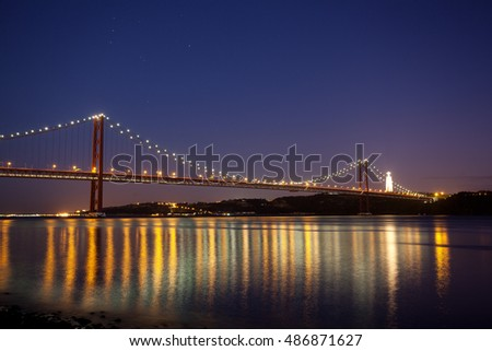 LISBON - JANUARY 17: Night view at 25 de Abril Bridge from the promenade, PORTUGAL 2015