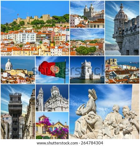 Lisbon landmarks collage, Portugal - stock photo
