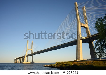 Lisbon - MAY 3: Vasco da Gama bridge is a bridge that spans the Tagus River in Parque das Nacoes. It's the longest bridge in Europe with a length of 17.2 km (10.7 mi). May 3 2014 in Lisbon, Portugal
