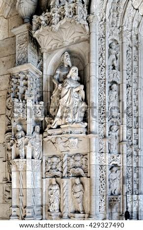 LISBON - November 10, 2015: Exterior detail of the Jeronimos Monastery in Belem, Lisbon. The renaissance Jeronimos monastery is UNESCO world heritage site. - stock photo