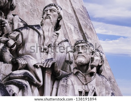 LISBON - NOVEMBER 30: Monument to the Discoveries on November 30, 2012 in Lisbon. Homage to grand Age of portuguese exploration and discoveries XV - XVI centuries (Cottinelli Telmo 1958 - 1960) Detail - stock photo