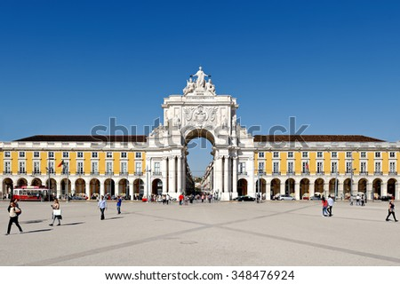 LISBON - NOVEMBER 08, 2015:Triumphal arch at Rua Augusta from Commerce Square in Lisbon, Portugal, built to commemorate the city's reconstruction after the 1755 earthquake.