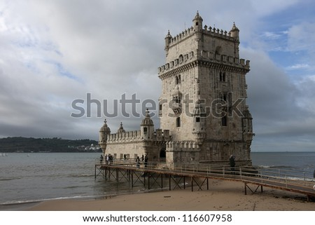 LISBON - OCT 20: An exterior view of the Belem Tower is shown on October 20, 2012 in Lisbon, Portugal. Also known as the Tower of St Vincent, it is a UNESCO World Heritage Site.