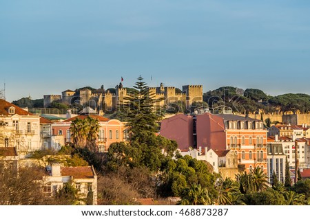 Lisbon old city and St George castle in afternoon