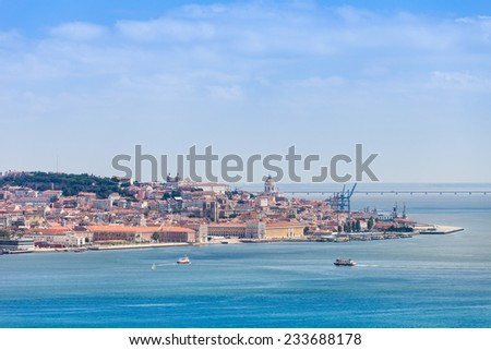 Lisbon on the Tagus river bank, central Portugal - stock photo