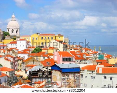 Lisbon panorama - stock photo