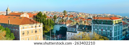Lisbon panorama with typical portuguese buildings on foreground.Portugal - stock photo