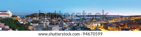 Lisbon panoramic view - stock photo