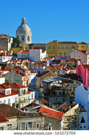 Lisbon pantheon and Alfama, Portugal - stock photo