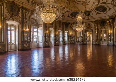 Lisbon, Portugal - April 22, 2017 - Grand Ballroom in the 18th Century National Palace of Queluz in Lisbon Portugal.