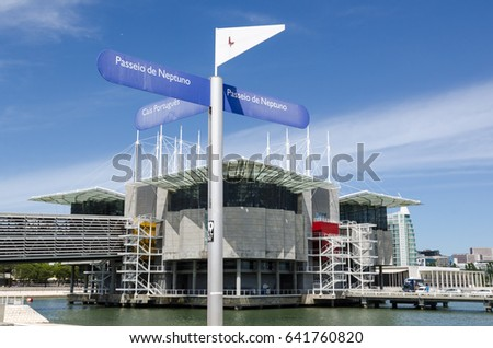 LISBON, PORTUGAL - APRIL 27: The aquarium Oceanario seen from the walkway Passeio de Neptuno in Lisbon, Portugal on April 27, 2017