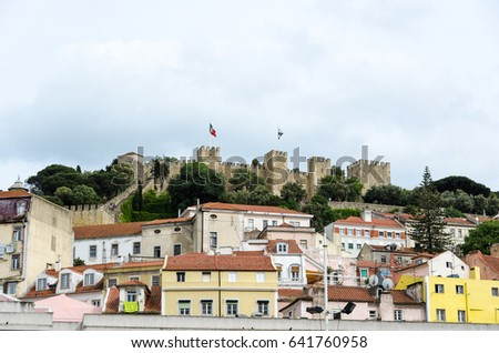 LISBON, PORTUGAL - APRIL 25: The famous Sao Jorge castle on a hill in the center of Lisbon, Portugal on April 25, 2017