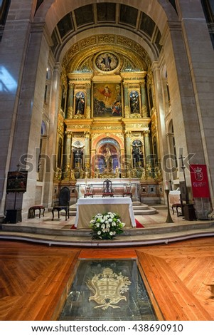 LISBON, PORTUGAL - APRIL 13, 2016: The interior of church of Sao Roque in Lisbon, Portugal. It was the earliest Jesuit church in the Portuguese world, and one of the first Jesuit churches anywhere