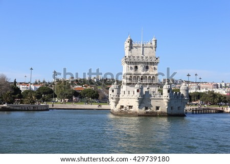 Lisbon, Portugal. April 26, The Torre de Belem is a major draw for tourists on April 26, 2016 in Lisbon Portugal - stock photo