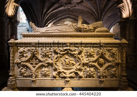 LISBON, PORTUGAL - APRIL 15, 2016: Tomb of Vasco de Gama - Portuguese navigator who establised the sea link between Portugal and India (1497-1498) in Lisbon, Portugal