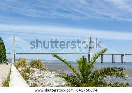 LISBON, PORTUGAL - APRIL 27:  View at the Vasco da Gama bridge from the walkway along the Tajo river in Lisbon, Portugal on April 27, 2017