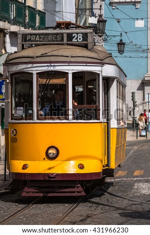 Lisbon,Portugal-April 12,2015:Vintage tram in the city center of Lisbon Lisbon, Portugal in a summer day