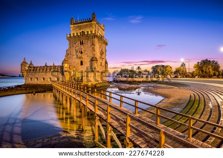 Lisbon, Portugal at Belem Tower on the Tagus River. - stock photo
