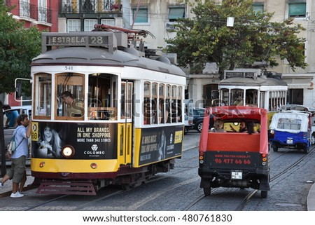 LISBON, PORTUGAL - AUG 20: Old trams on the street of Lisbon in Portugal, as seen on Aug 20, 2016. The trams were imported from the United States in 1901 to replace horse-drawn carriages.