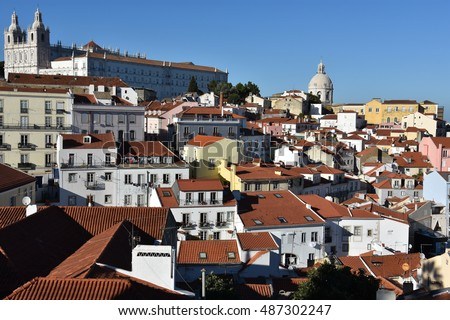 LISBON, PORTUGAL - AUG 20: View across Alfama from Miradouro de Santa Luzia in Lisbon, Portugal, as seen on Aug 20, 2016. Lisbon is the capital and the largest city of Portugal.