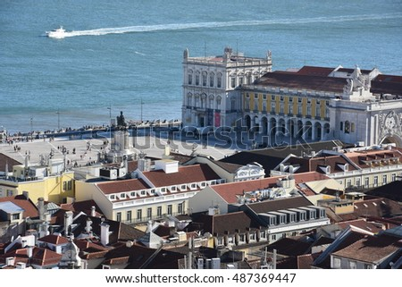 LISBON, PORTUGAL - AUG 20: View of Praca do Comercio, from Sao Jorge Castle, in Lisbon, Portugal, as seen on Aug 20, 2016.  Lisbon is the capital and largest city in Portugal.