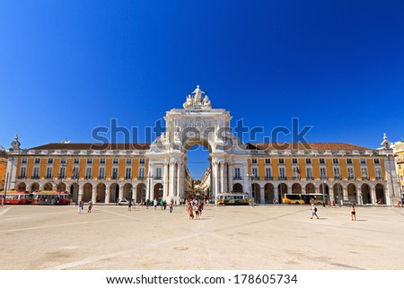 LISBON, PORTUGAL - AUGUST 20, 2013: Beautiful image of tourist on the Commerce square (Praca do Comercio) in Lisbon, Portugal, on August 20, 2013