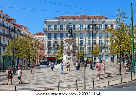 Lisbon, Portugal. August 31, 2014: Luis de Camoes Square near the Chiado and Bairro Alto Districts - stock photo