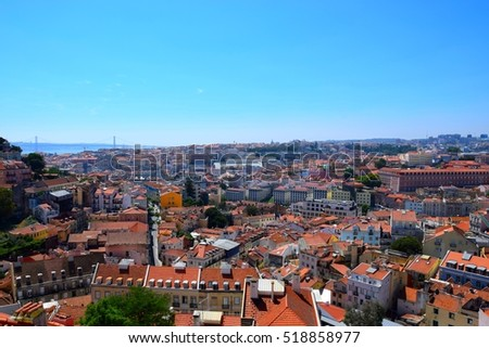 Lisbon, Portugal - August 15, 2016  - Panoramic view over the center of Lisbon from the viewpoint called: Miradouro da Graca