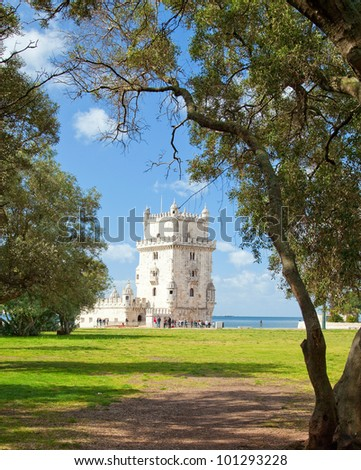 Lisbon, Portugal: Belem Tower. Unesco World Heritage Site. - stock photo