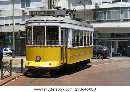 LISBON, PORTUGAL - CIRCA JUNE 2015: famous attraction historical tram line 28