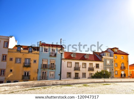 Lisbon, Portugal. Classical view. Typical architecture of the city streets.