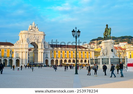 LISBON, PORTUGAL - DEC 24, 2014: Commerce Square in Lisbon. It is one of the most important squares and was settled the land where the Royal Palace in Lisbon for more than 200 years  - stock photo