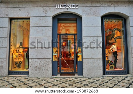 LISBON, PORTUGAL - DECEMBER 27: Hermes flagshop store in Lisbon district Bairro Alto on december 27, 2013. Hermes is a luxury french  fashion brand.  - stock photo