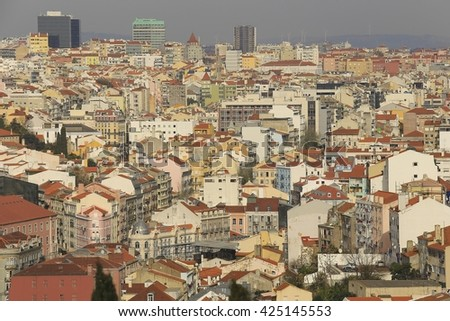LISBON - PORTUGAL, December 23, 2015 : Lisbon city panoramic view, Portugal
