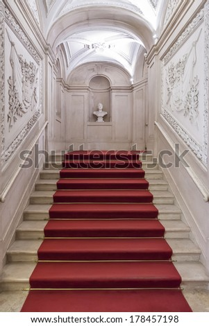 Lisbon, Portugal, December 02, 2013: The Noble Staircase of the Ajuda National Palace, Lisbon, Portugal - 19th century neoclassical Royal palace. - stock photo