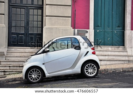lisbon portugal december 25 2012 white smart compact car in the street