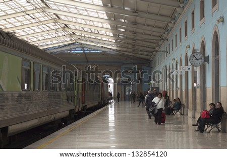 LISBON, PORTUGAL - FEB 8: Interior of Sta Apolonia train station on February 8, 2013. Due to current crisis the transportation sector is promoting several strikes causing troubles to passengers - stock photo