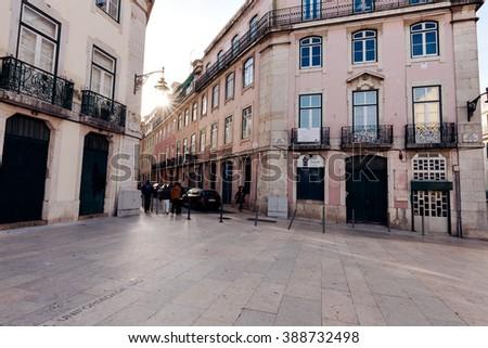 LISBON, PORTUGAL - FEBRUARY 02, 2016: Alfama morning street in Lisbon, Portugal. - stock photo