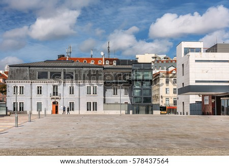 LISBON, PORTUGAL - FEBRUARY 1: renovated EMCDDA building with the modern part on European square (Praca da Europa) close to Cais do Sodre railway station in Lisbon, Portugal on February 1st, 2017.
