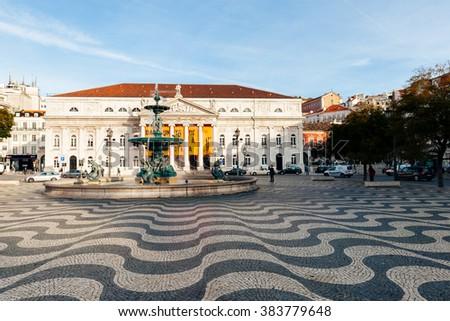LISBON, PORTUGAL - FEBRUARY 02, 2016: Rossio Square in Lisbon, Portugal. - stock photo