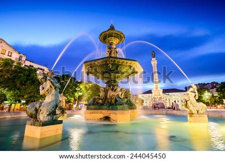 Lisbon, Portugal fountain at Rossio Square. - stock photo