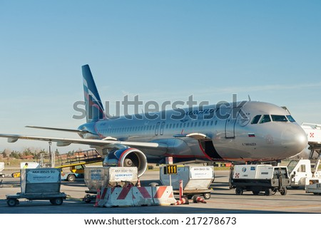 LISBON, PORTUGAL - JANUARY 1, 2014: Aeroflot airplane in Lisbon airport. Aeroflot is one of the oldest airlines in the world, tracing its history back to 1923.